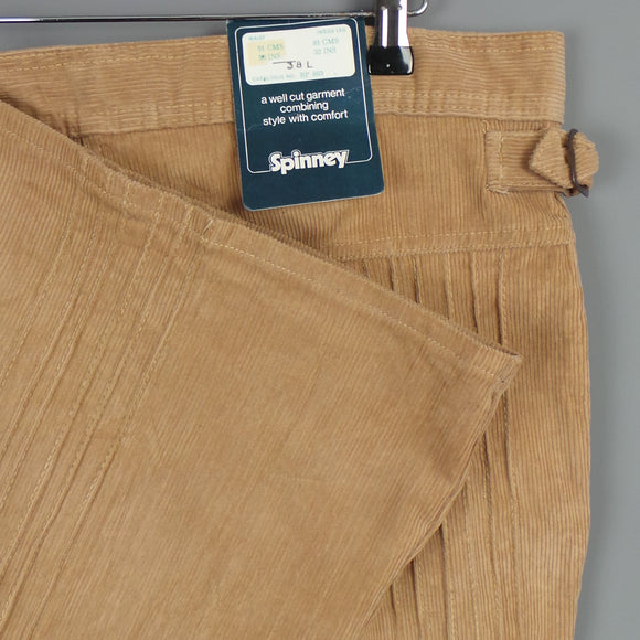 1970s Tan Pin Tucked Front Deadstock Cords, By Spinney, 37in Waist