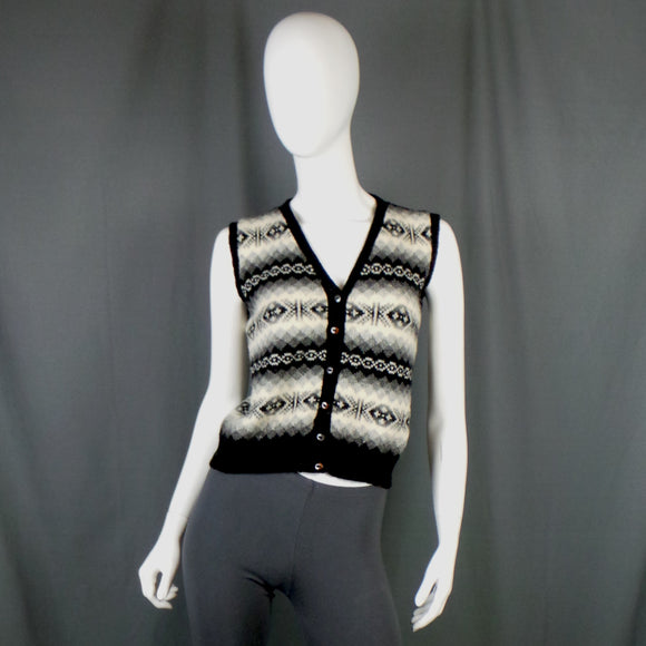 1980s Monochrome Fair Isle Knit Tank, 36in Bust