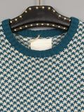1970s Teal and White Dogtooth Knit Jumper with Elbow Patches, 42in Chest