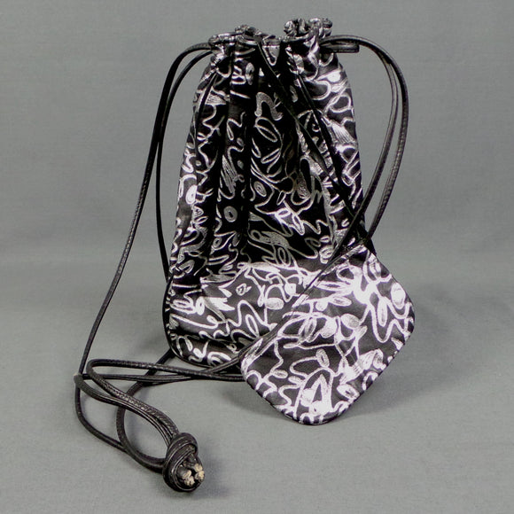 1980s Silver and Black Leather Pouch Bag and Purse