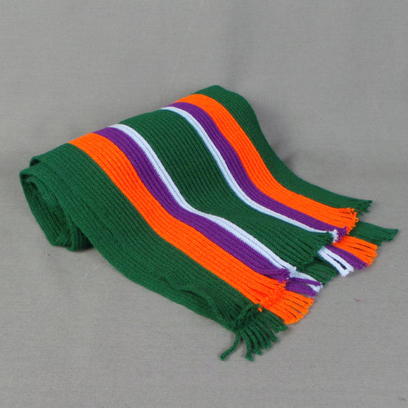 1980s Bottle Green and Orange Striped College Scarf