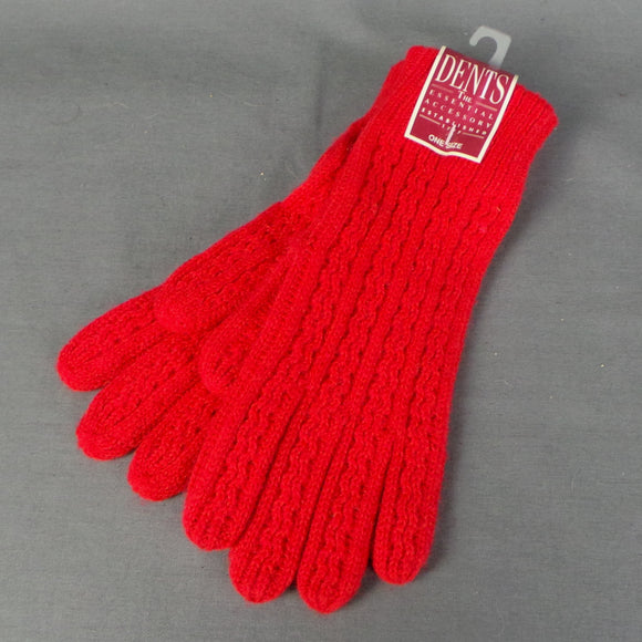 1980 Bright Red Dents Knitted Gloves
