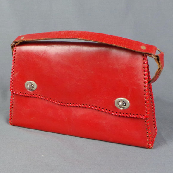 1950s Cherry Red Double Latch Leather Hand Bag