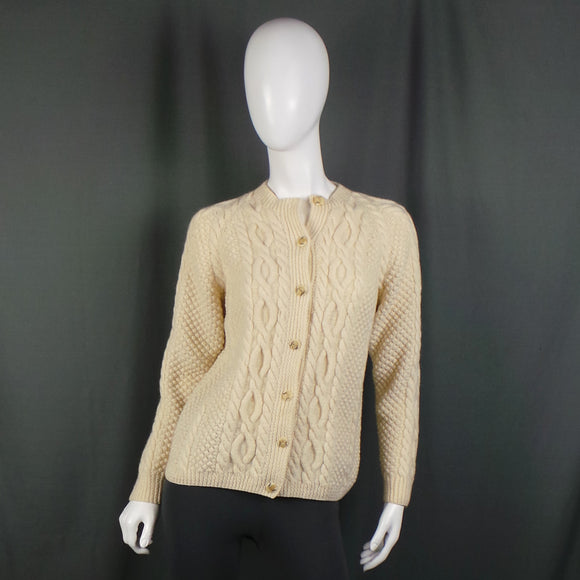 1970s Warm Cream Hand Knitted Button Front Aran Cardigan, 38in Bust