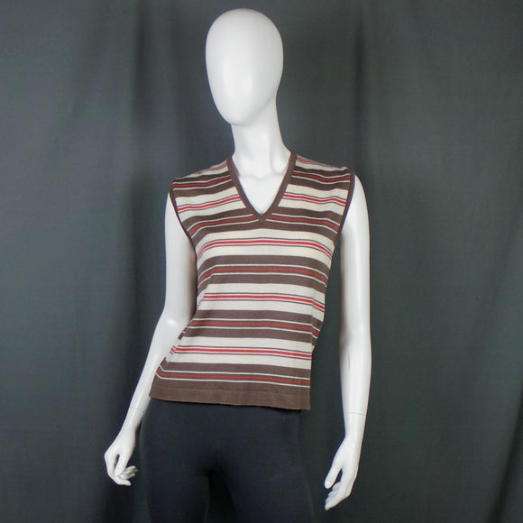 1970s Brown and Red Striped V-Neck Tank Knit, by St Michael, 38in Bust