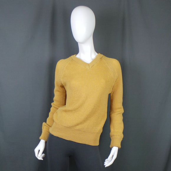 1960s Mustard Yellow Ribbed V-Neck Knit Jumper, by Lloyd, 38in Bust