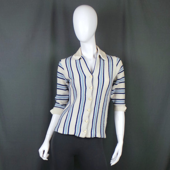 1960s Blue and Cream Stripe Collared Short Sleeve Cardigan Knit, 36in Bust
