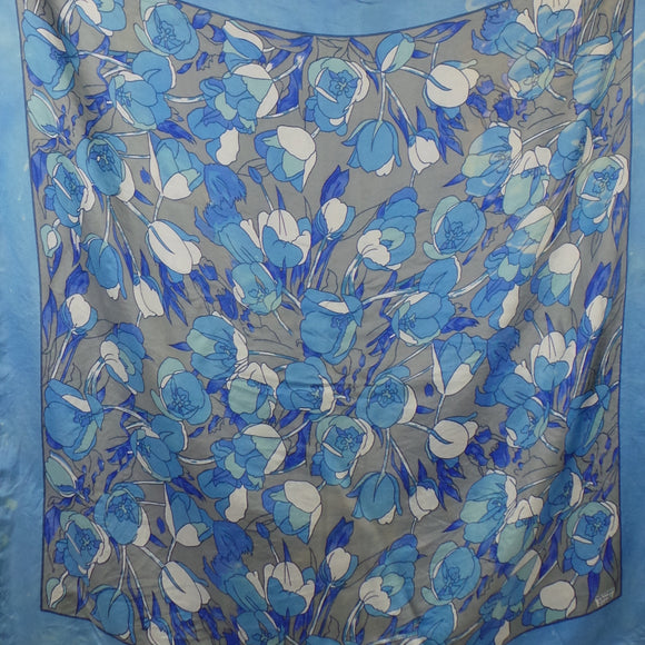 1970s Liberty Blue Flower Large Pure Silk Scarf