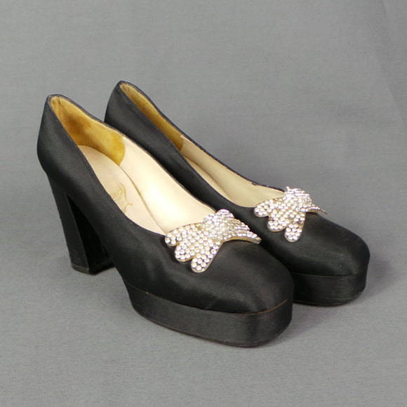 1940s Rhinestone Lucite Bow Black Satin Platform Shoes, approx UK 7