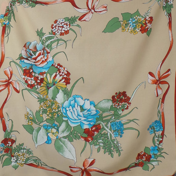 1970s Tan and Rust Floral Bow Print Scarf