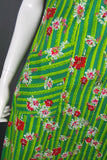 1950s Bright Green Hawaiian Tiki Floral Shift Dress. 42in Bust