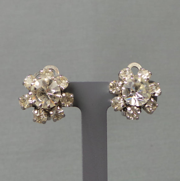 1950s Clear Rhinestone Flower Snowflake Clip On Earrings
