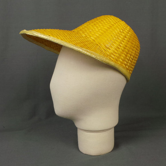 1960s Golden Yellow Wicker Brimmed Cap