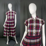1950s Purple and Red Plaid Check Classic Shirtwaister Dress, 38in Bust