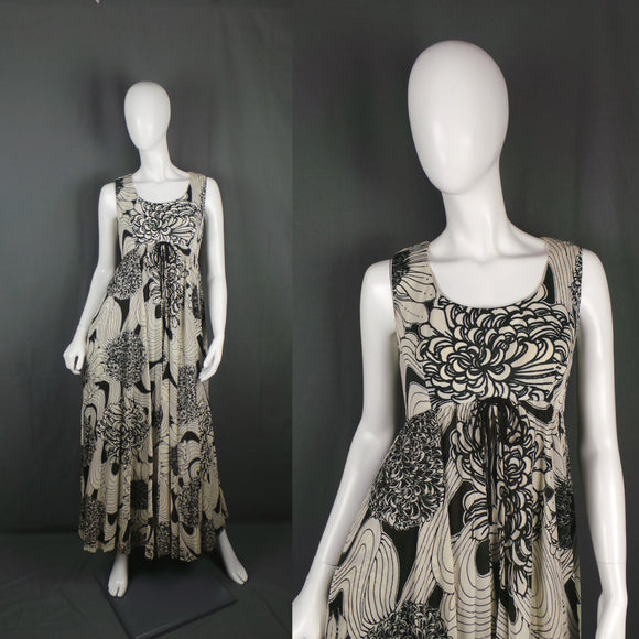 1970s Black and White Floral Maxi Dress with Cape Skirt, by Frederick Howard, 36in Bust