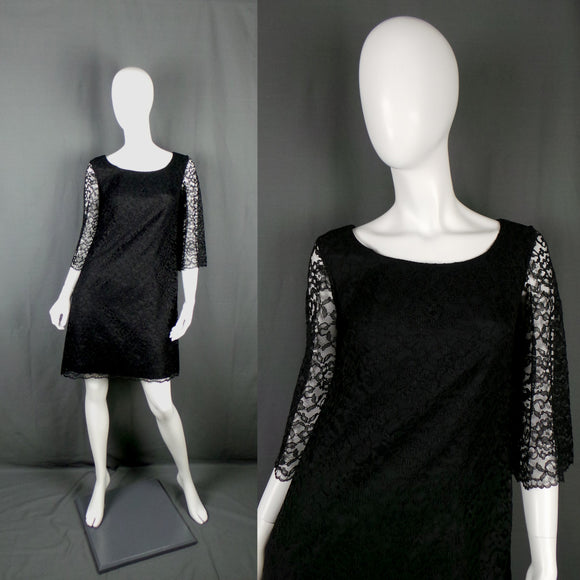 1960s Black Lace Overlay Mini Dress with Bow Back, by Blanes, 37in Bust