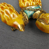 1930s Ceramic Golden Poodle Novelty Dog Brooch