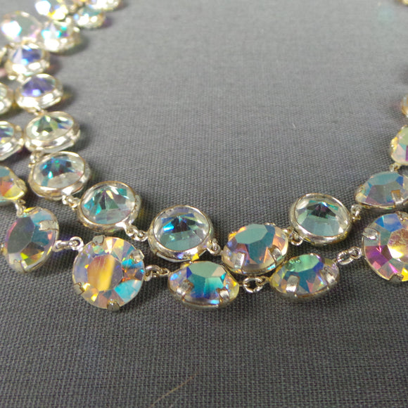 1950s Aurora Borealis Necklace and Drop Clip On Earring Set