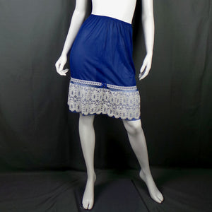 1960s Navy Blue Lace A-line Half Slip, by Sidroy, 20in-32in Waist