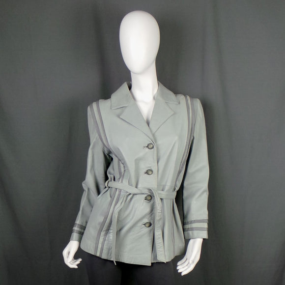 1980s Dove Grey Belted Leather Jacket, 42in Bust