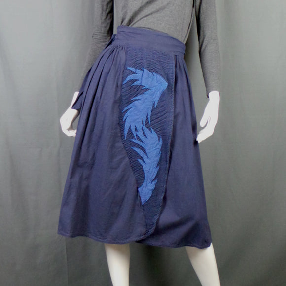 1980s Navy Applique Front Wrap Skirt, by Phool, 30in waist