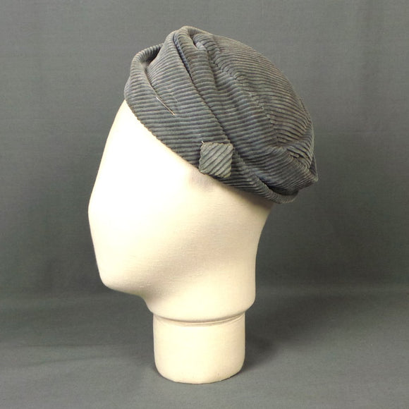 1950s Dove Grey Jumbo Cord Pill Box Tilt Hat, by John Muir