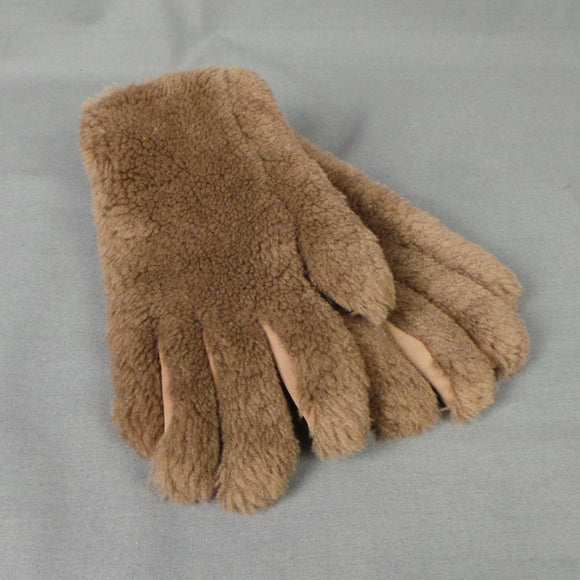 1960 Brown Faux Fur Teddy Bear Gloves, by Wynelga