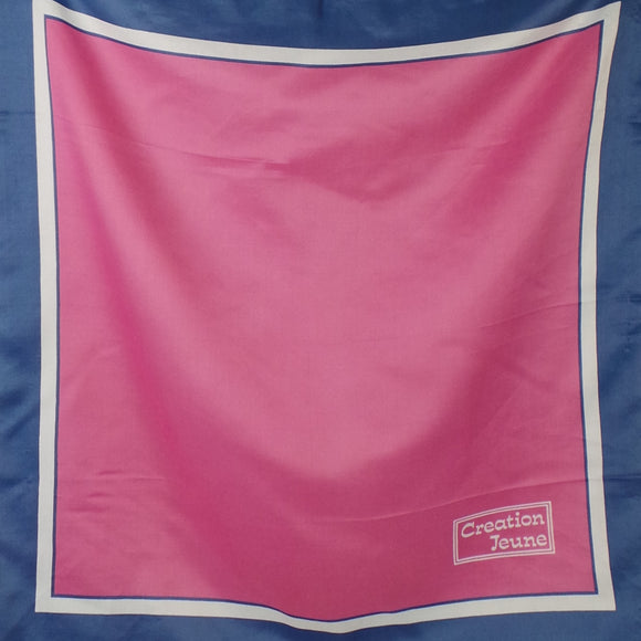 1960s Bubblegum Pink and Dusky Blue Scarf, by Creation Jeune