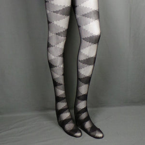 1980s Mary Quant 'Escalator' Argyle Design Black Tights