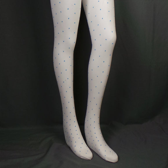 1980s Mary Quant 'New Dotty' Electric Blue Spot Design White Tights