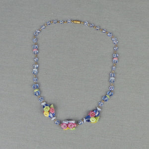 1930s Pastel Czech Glass Flower Bead Short Necklace