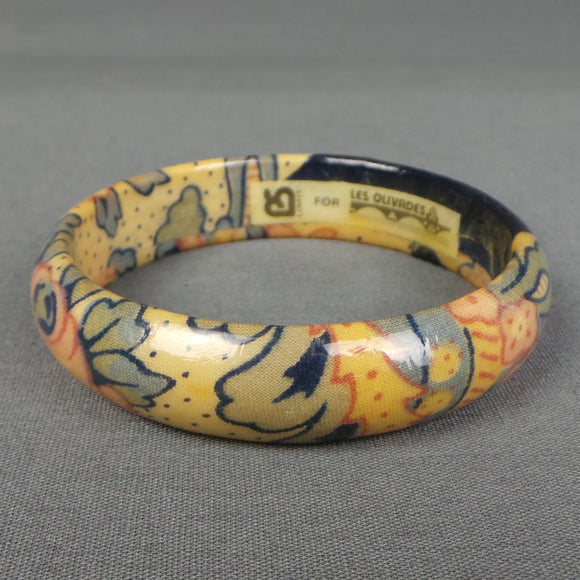 1980s Cream and Blue Papier Mache Floral Bangle Bracelet