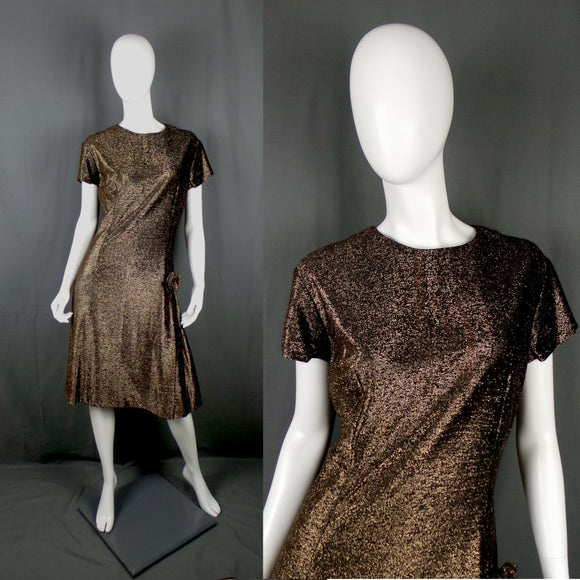 1960s Bronze Gold Lame Party Dress with Bow, 44in Bust