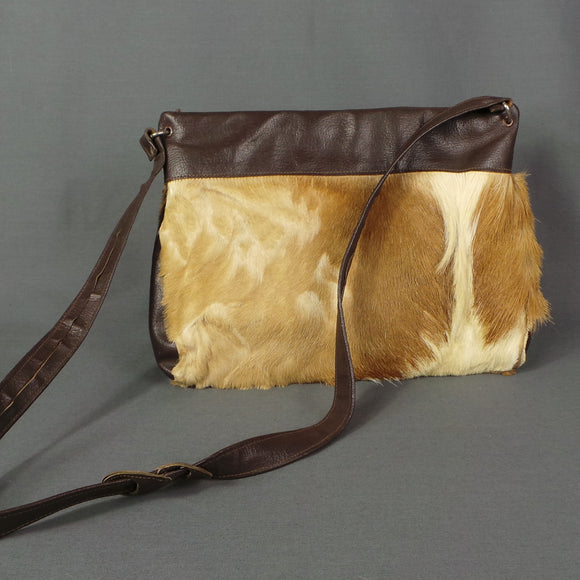 1970s Pony Hair Leather Cross Body Shoulder Bag
