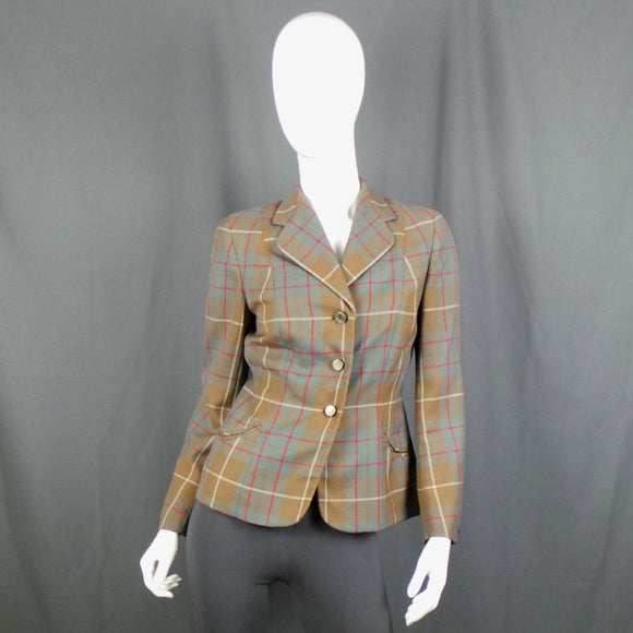 1940s Teal, Red and Tan Checked Sports Blazer, by Thorntons, 40in Bust