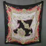 1980s Black and Pink Rococo Regency Silk Scarf