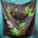 1970s Teal and Brown Silky Floral Scarf