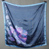 1970s Blue and Pink with Gold Detail Floral Scarf