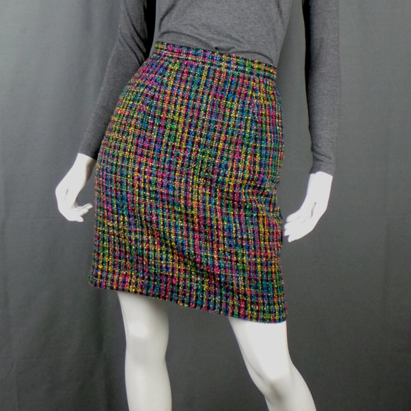 1980s Bright Multi-Colour Check Boucle Mini Skirt, by Paul Harris, 24in Waist
