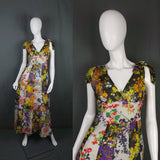 1970s Grecian Style Flowing Floral Maxi Dress, by Y.P. Dubois, 36in Bust