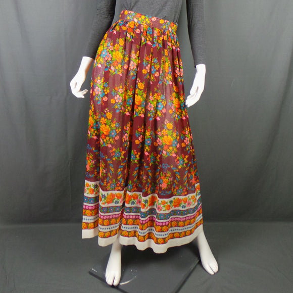 1960s Aubergine Bright Floral Boho Maxi Skirt, 24in Waist