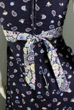 1960s Navy and Lilac Floral and Paisley Sleeveless Maxi Dress, 33in Bust