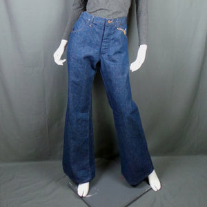1970s Wrangler Blue Bell Deadstock Mid Wash Denim Flares, 34in Waist