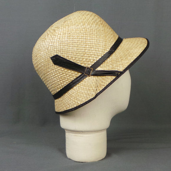 1920s Straw and Black Ribbon Deadstock Cloche Hat