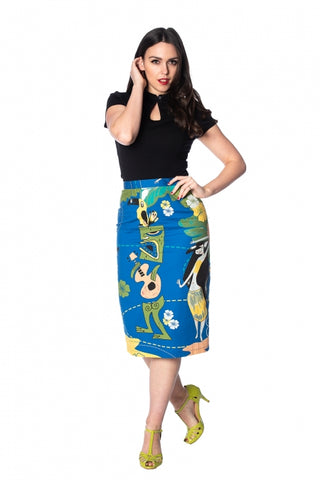 Tiki Pencil Skirt