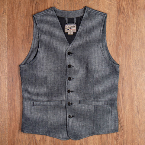 1905 Hauler Vest grey striped linen Pike Brothers