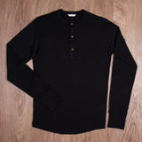1927 Henley Shirt long sleeve faded black Pike Brothers