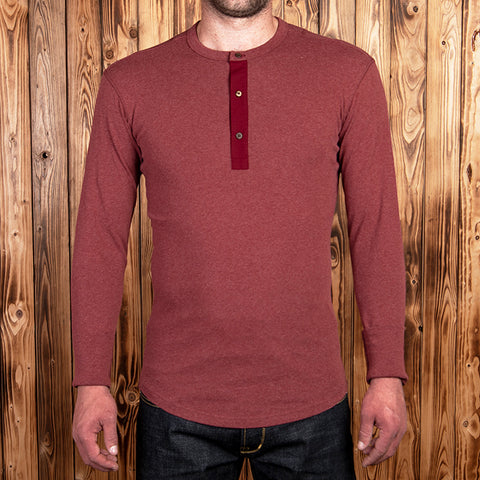1927 Camiseta henley manga larga granate rojo Pike Brothers