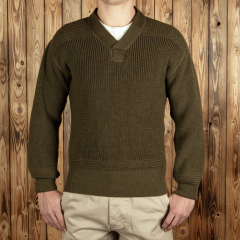 1943 V-Neck Sweater olive Pike Brothers