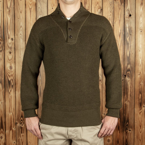 1944 High Neck Sweater olive Pike Brothers